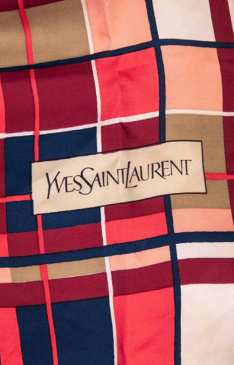 YVES SAINT LAURENT Coral Red Blue Ivory Plaid Design Silk Twill Scarf, 1980s For Sale 1