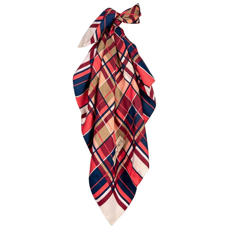 YVES SAINT LAURENT Coral Red Blue Ivory Plaid Design Silk Twill Scarf, 1980s For Sale