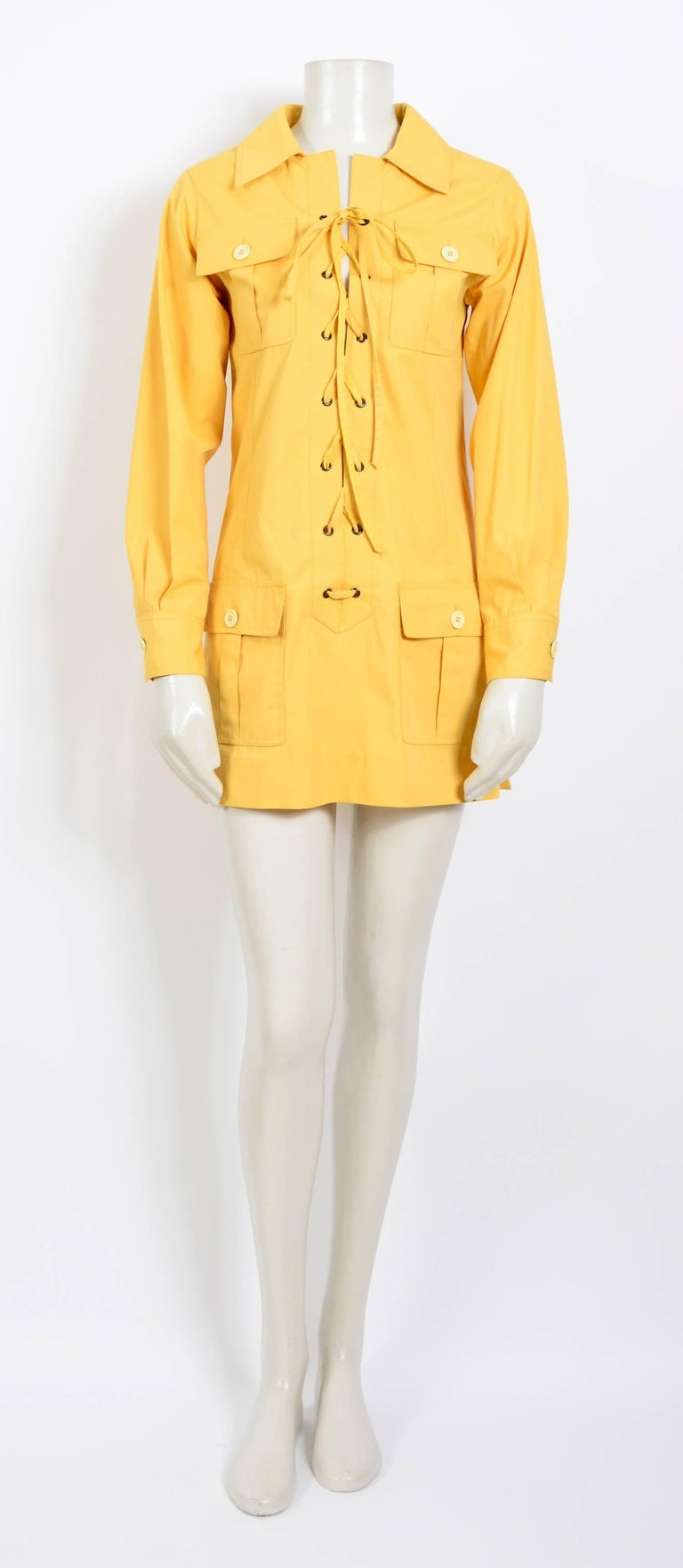 Orange Yves Saint Laurent corn safari tunic, 1968 collection as seen on Betty Catroux For Sale
