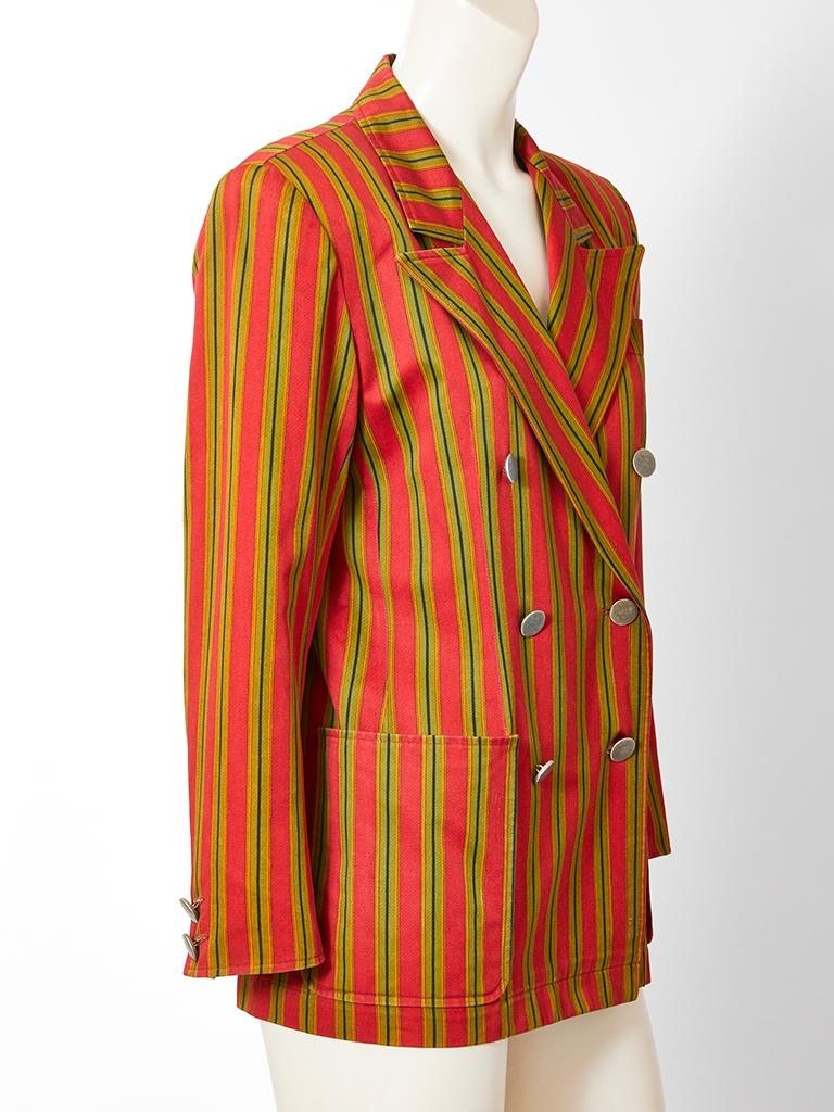 Yves Saint Laurent, Rive Gauche, cotton gaberdine, double breasted,  red and olive green stripe, 70's blazer, having wide lapels, a semi fitted silhouette and deep side patch pockets.