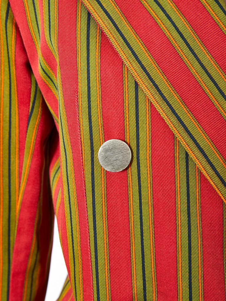 Brown Yves Saint Laurent Cotton Gaberdine Double Breasted Blazer For Sale