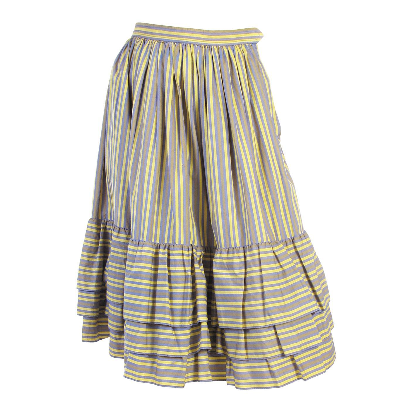 Yves Saint Laurent Cotton Striped Skirt, 1980s