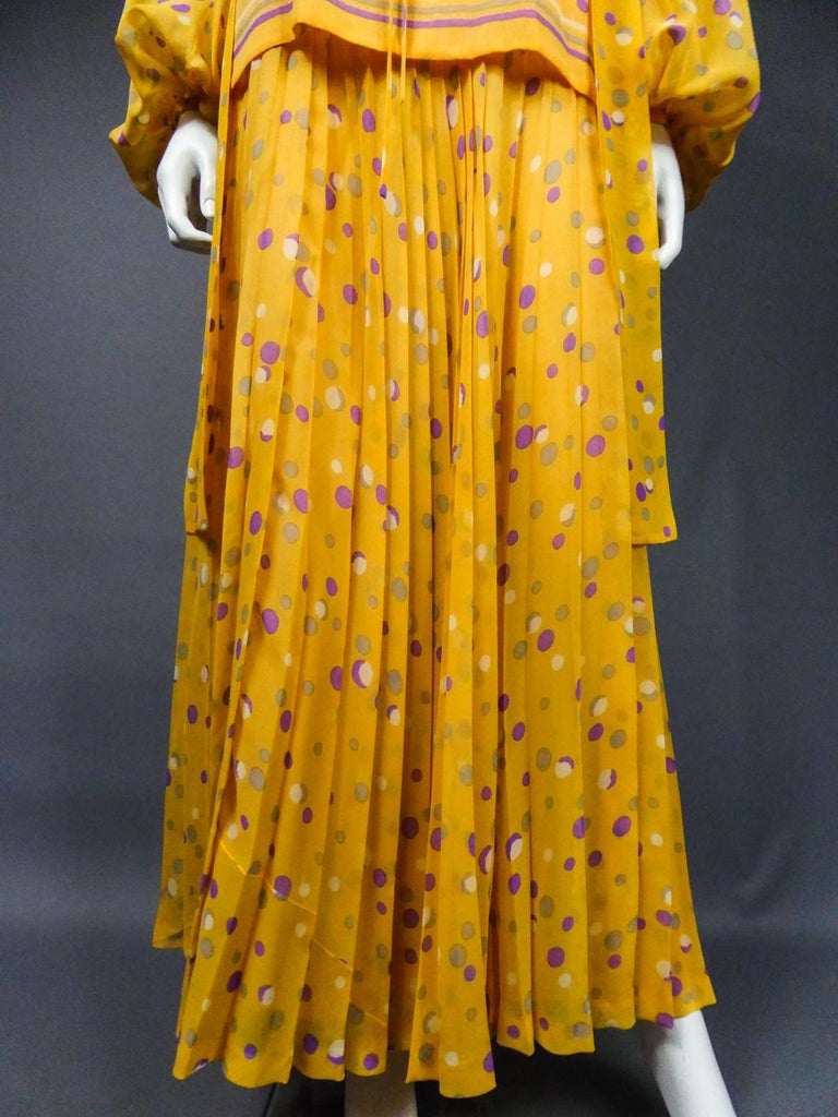 Yves Saint Laurent Couture Chiffon Blouse and Skirt Numbered 39377 Circa 1975 For Sale 6