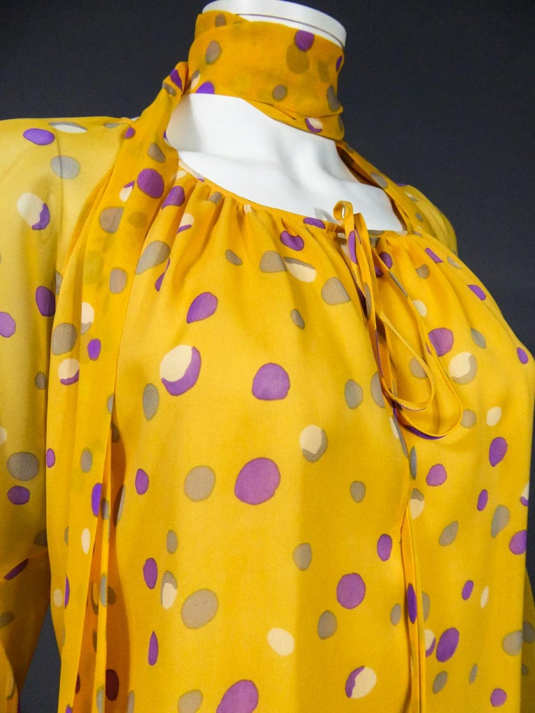 Yves Saint Laurent Couture Chiffon Blouse and Skirt Numbered 39377 Circa 1975 For Sale 7
