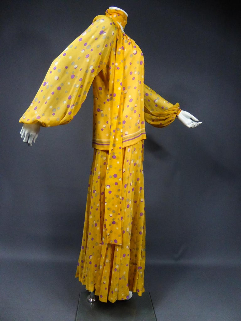 Yves Saint Laurent Couture Chiffon Blouse and Skirt Numbered 39377 Circa 1975 For Sale 9