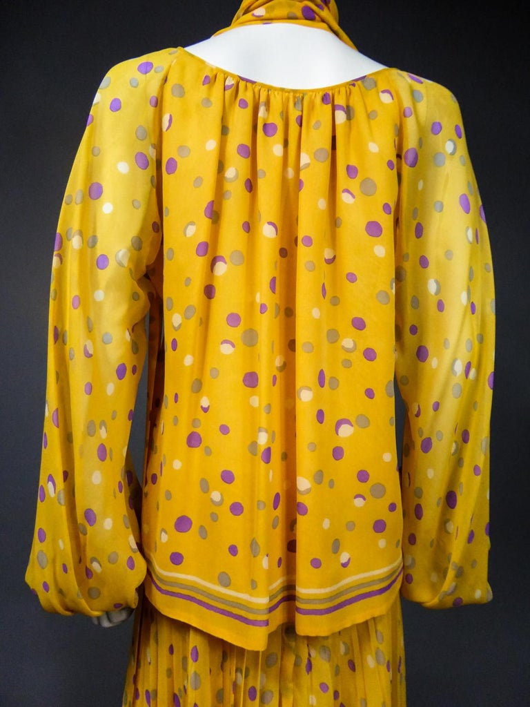 Yves Saint Laurent Couture Chiffon Blouse and Skirt Numbered 39377 Circa 1975 For Sale 10