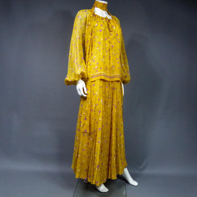 Yves Saint Laurent Couture Chiffon Blouse and Skirt Numbered 39377 Circa 1975 For Sale 11