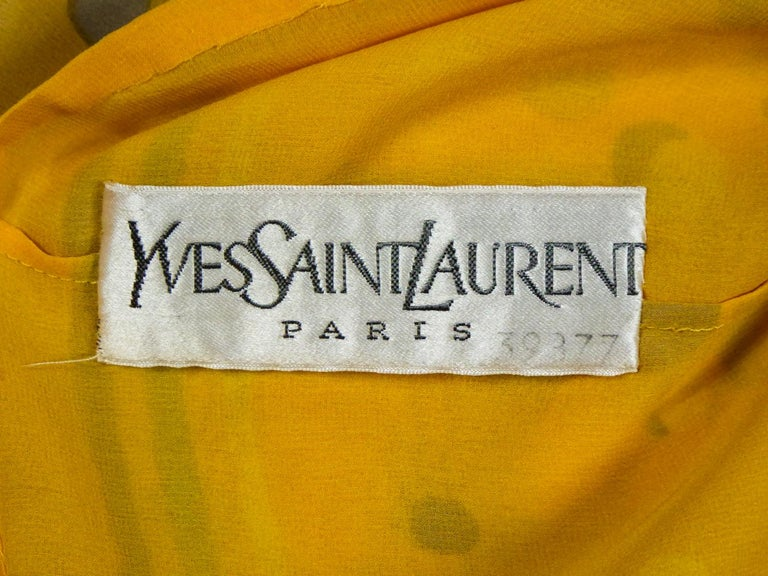 Women's Yves Saint Laurent Couture Chiffon Blouse and Skirt Numbered 39377 Circa 1975 For Sale