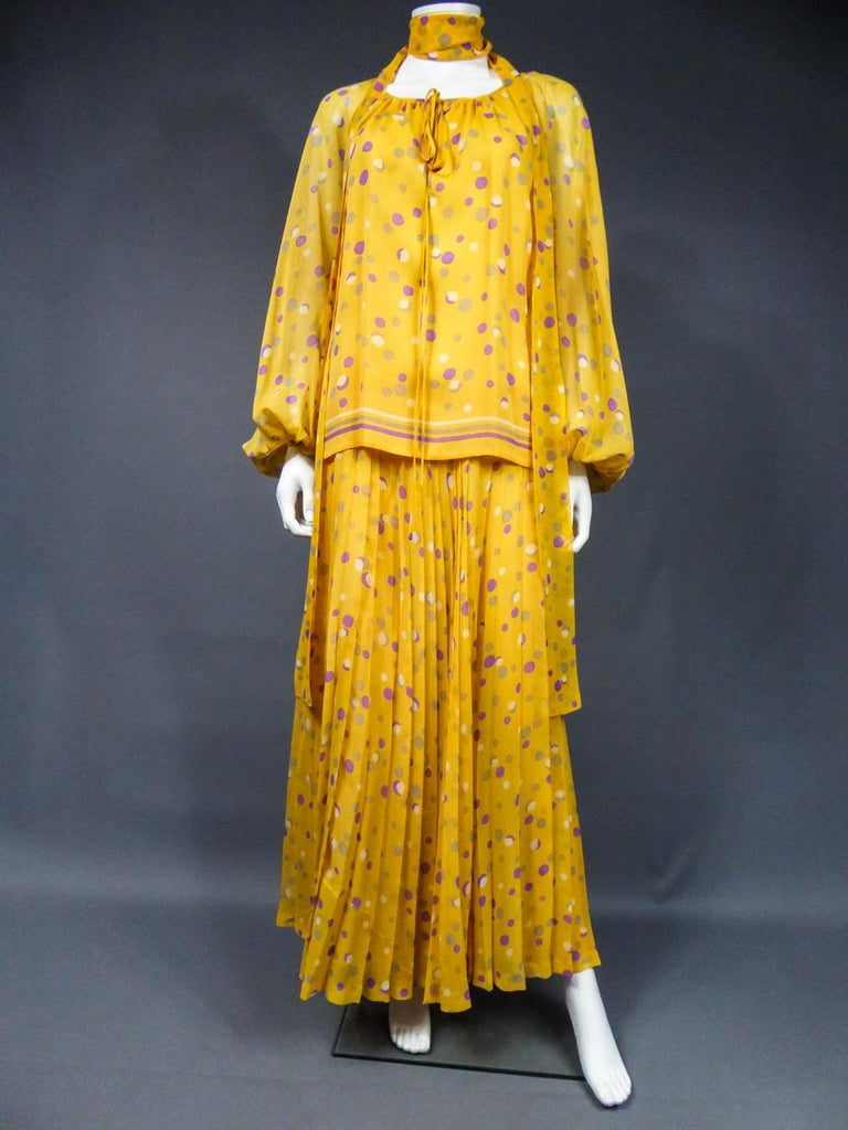 Yves Saint Laurent Couture Chiffon Blouse and Skirt Numbered 39377 Circa 1975 For Sale 1