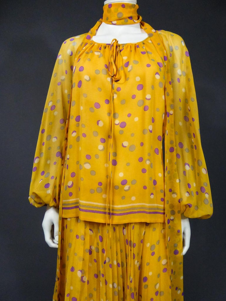 Yves Saint Laurent Couture Chiffon Blouse and Skirt Numbered 39377 Circa 1975 For Sale 2