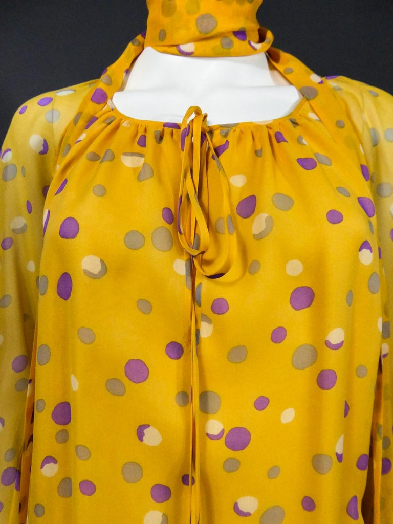 Yves Saint Laurent Couture Chiffon Blouse and Skirt Numbered 39377 Circa 1975 For Sale 3