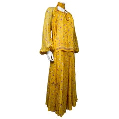 Yves Saint Laurent CoutureChiffon Blouse and Skirt Numbered 39377 Circa 1975