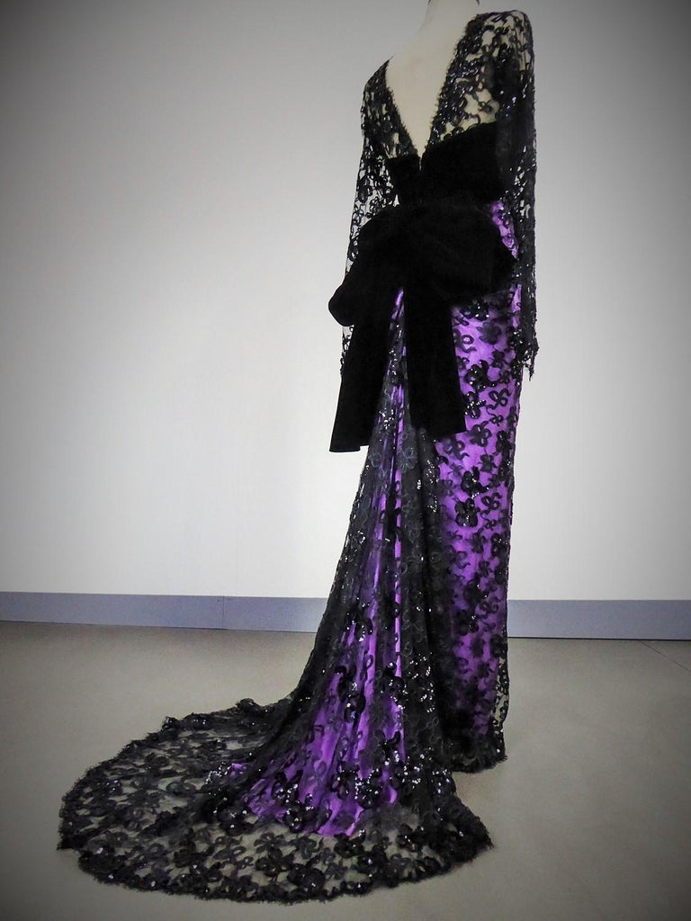 Yves Saint Laurent Couture Evening Gown Lace and Satin n. 59501 Collection 1985 For Sale 5