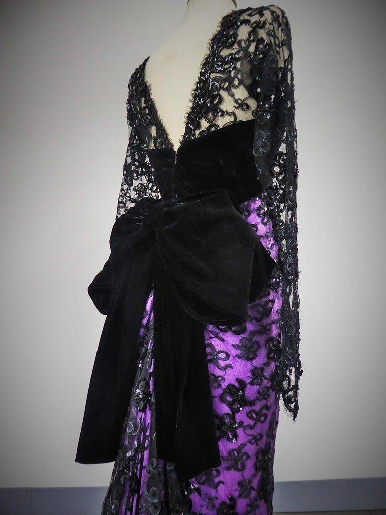 Yves Saint Laurent Couture Evening Gown Lace and Satin n. 59501 Collection 1985 For Sale 6