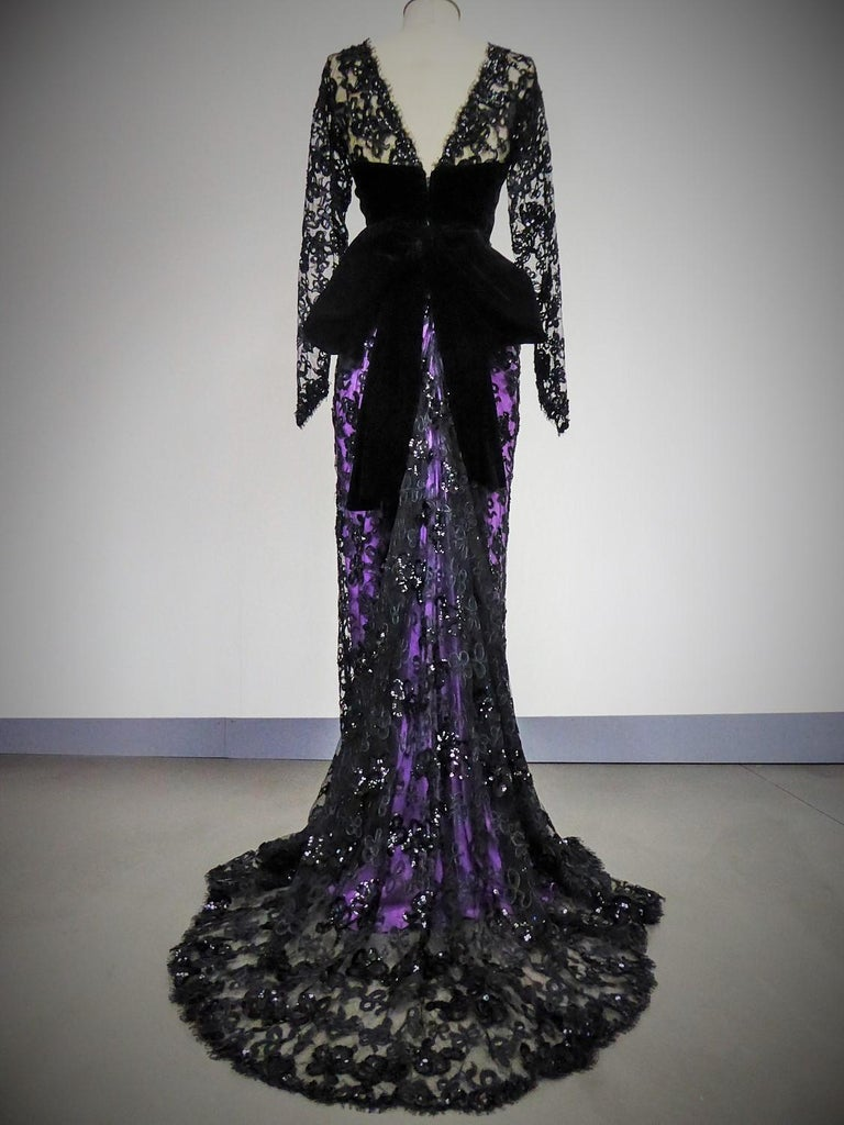 Yves Saint Laurent Couture Evening Gown Lace and Satin n. 59501 Collection 1985 For Sale 7
