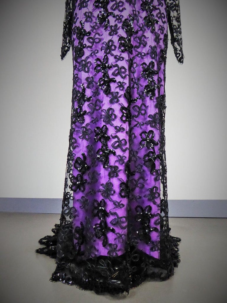 Black Yves Saint Laurent Couture Evening Gown Lace and Satin n. 59501 Collection 1985 For Sale