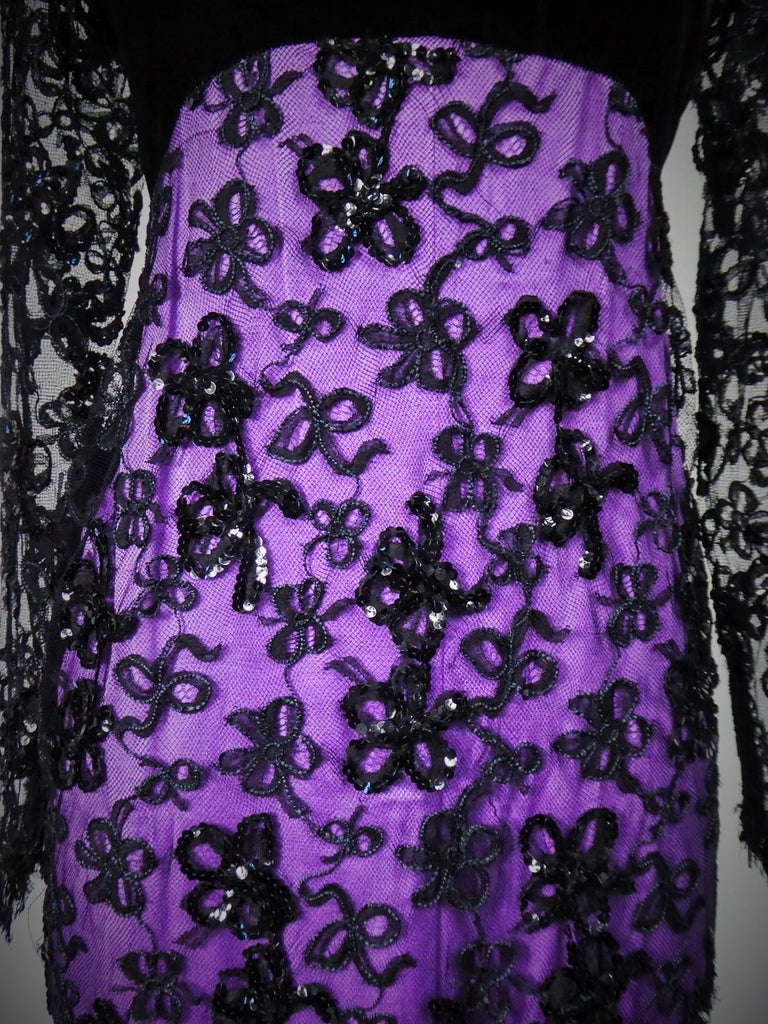 Yves Saint Laurent Couture Evening Gown Lace and Satin n. 59501 Collection 1985 In Excellent Condition For Sale In Toulon, FR
