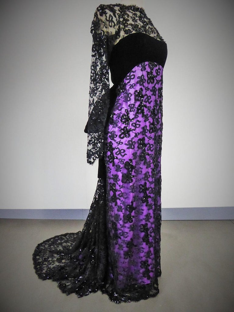 Yves Saint Laurent Couture Evening Gown Lace and Satin n. 59501 Collection 1985 For Sale 1