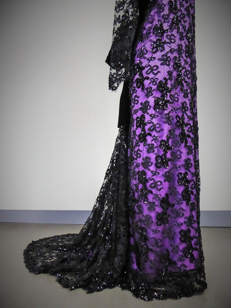 Yves Saint Laurent Couture Evening Gown Lace and Satin n. 59501 Collection 1985 For Sale 2
