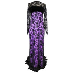 Yves Saint Laurent Couture Evening Gown Lace and Satin n. 59501 Collection 1985