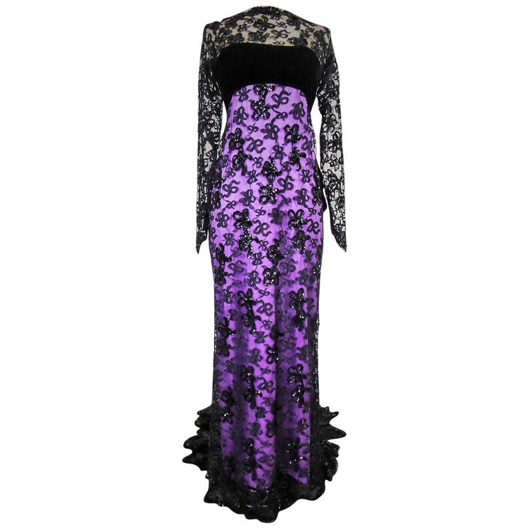 Yves Saint Laurent Couture Evening Gown Lace and Satin n. 59501 Collection 1985 For Sale