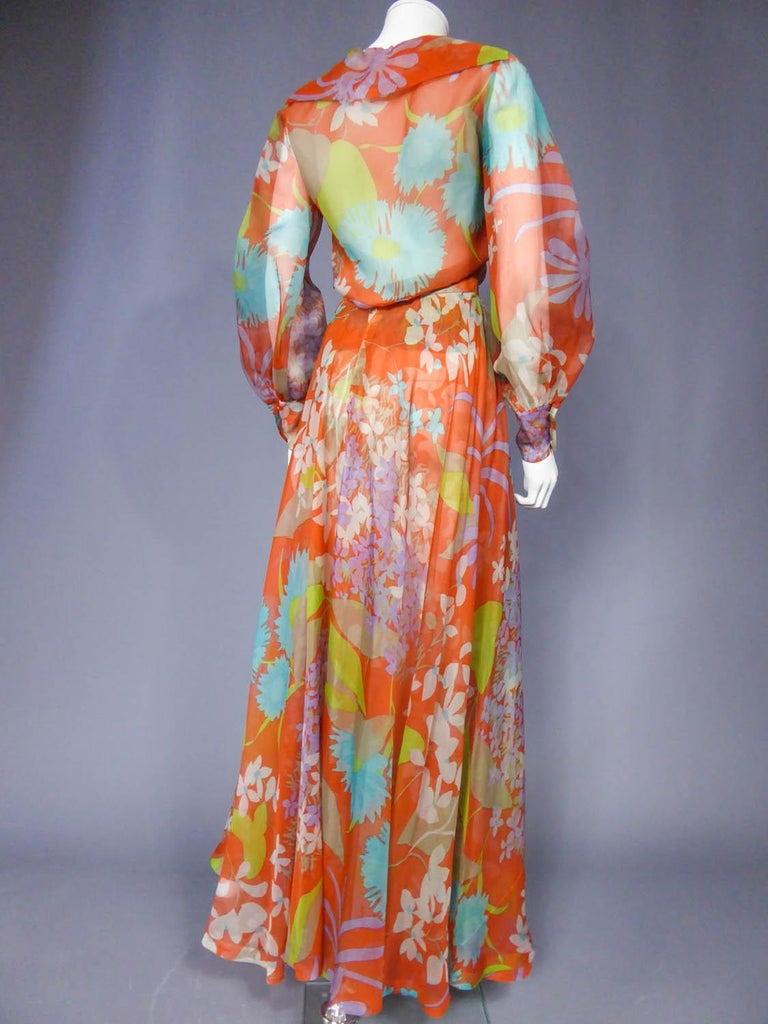 Yves Saint Laurent  Couture Printed Organza Skirt and Blouse Fall 1969 For Sale 5