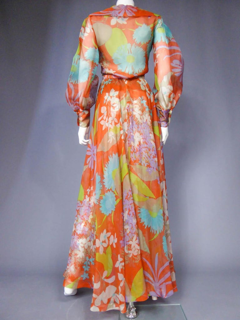 Yves Saint Laurent  Couture Printed Organza Skirt and Blouse Fall 1969 For Sale 6