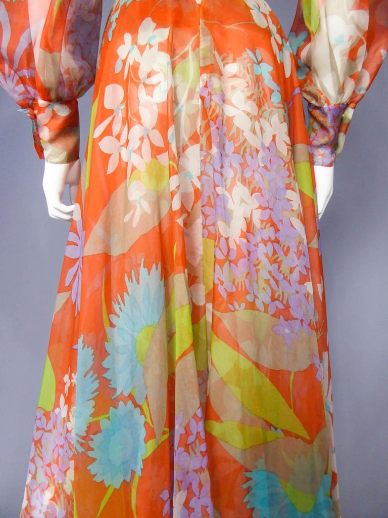 Yves Saint Laurent  Couture Printed Organza Skirt and Blouse Fall 1969 For Sale 7