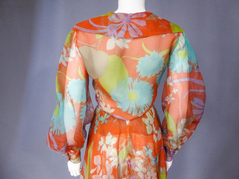 Yves Saint Laurent  Couture Printed Organza Skirt and Blouse Fall 1969 For Sale 8