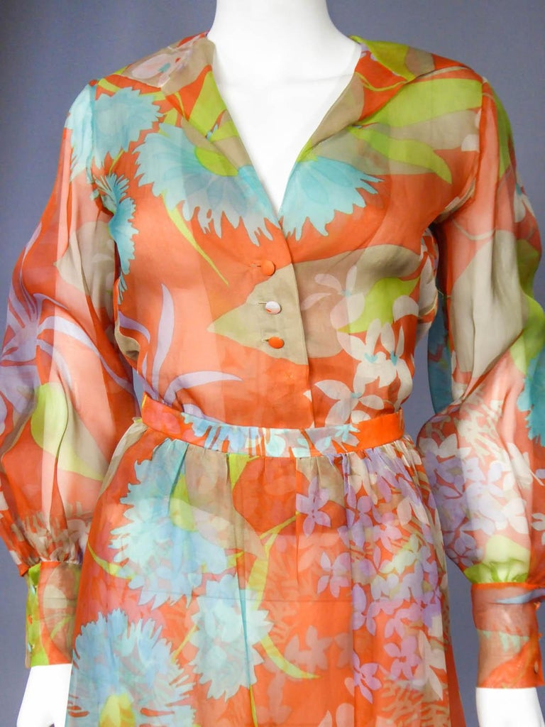 Yves Saint Laurent  Couture Printed Organza Skirt and Blouse Fall 1969 For Sale 9