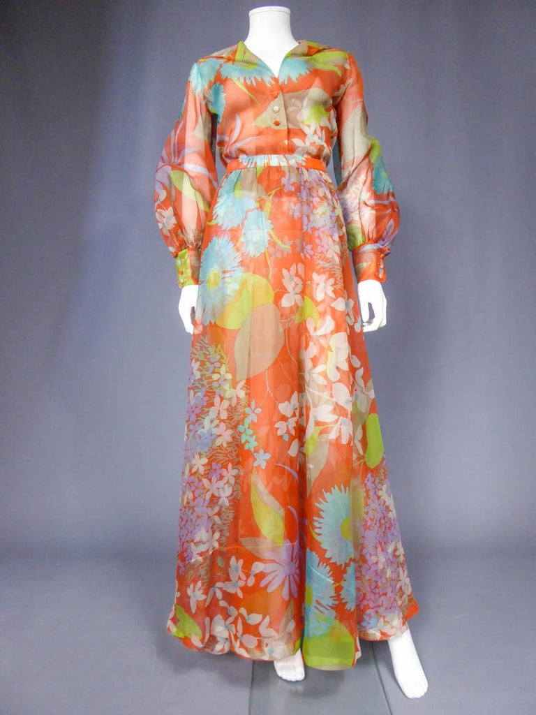 Collection Spring -Summer Fall 1969  Paris  Yves Saint Laurent Couture printed organza skirt and blouse numbered 25276 – Paris collection spring summer 1969. The set, long skirt and blouse with pouffed sleeves made in a Maison Abraham silk organza.
