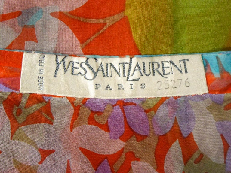 Brown  Yves Saint Laurent  Couture Printed Organza Skirt and Blouse Fall 1969 For Sale