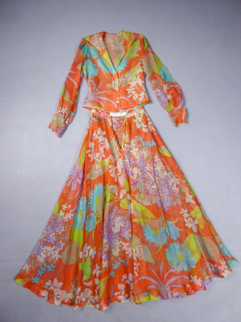 Yves Saint Laurent  Couture Printed Organza Skirt and Blouse Fall 1969 In Excellent Condition For Sale In Toulon, FR