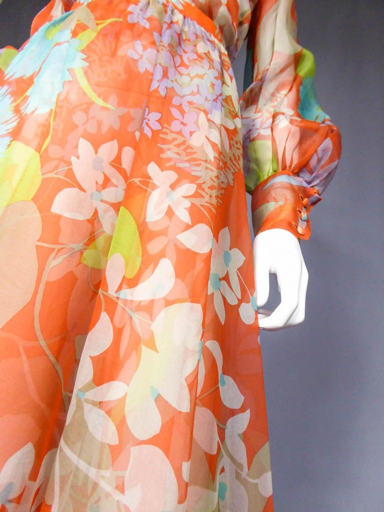 Yves Saint Laurent  Couture Printed Organza Skirt and Blouse Fall 1969 For Sale 1