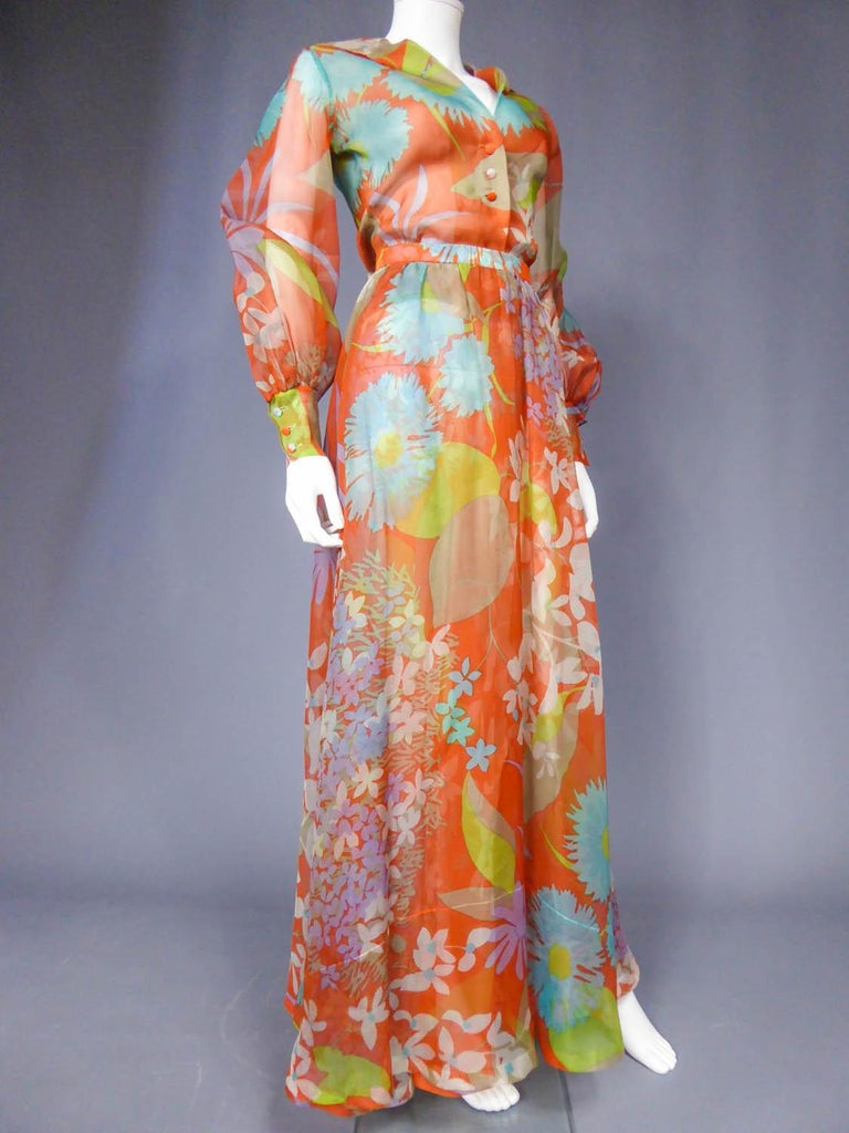 Yves Saint Laurent  Couture Printed Organza Skirt and Blouse Fall 1969 For Sale 2