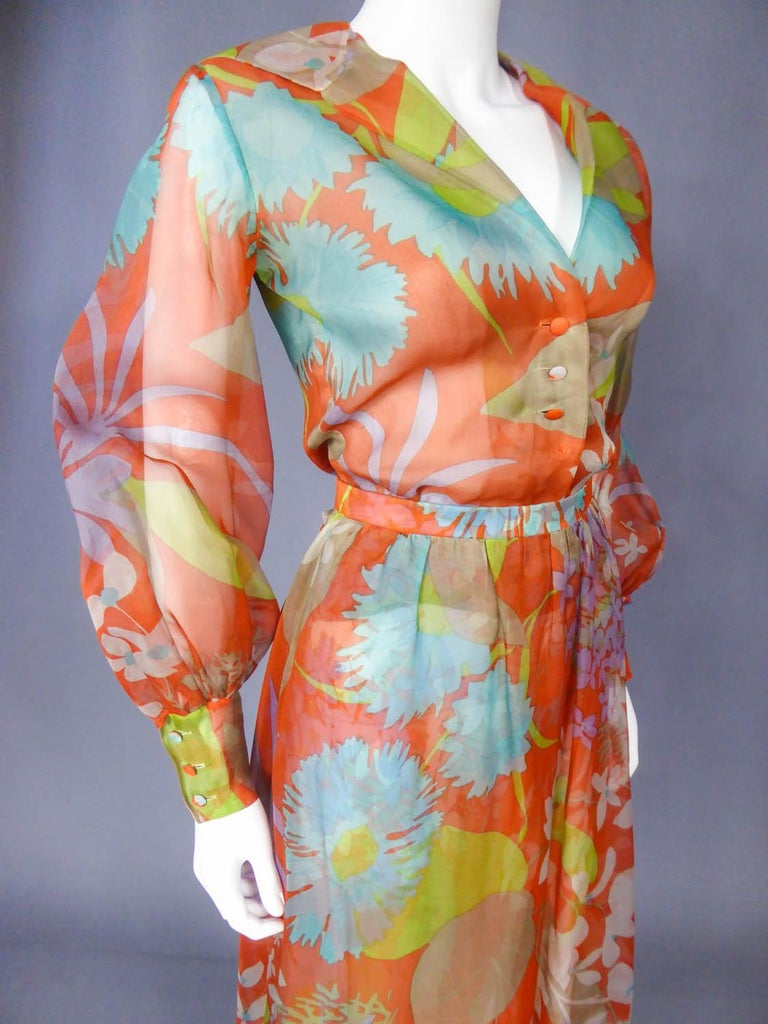 Yves Saint Laurent  Couture Printed Organza Skirt and Blouse Fall 1969 For Sale 3