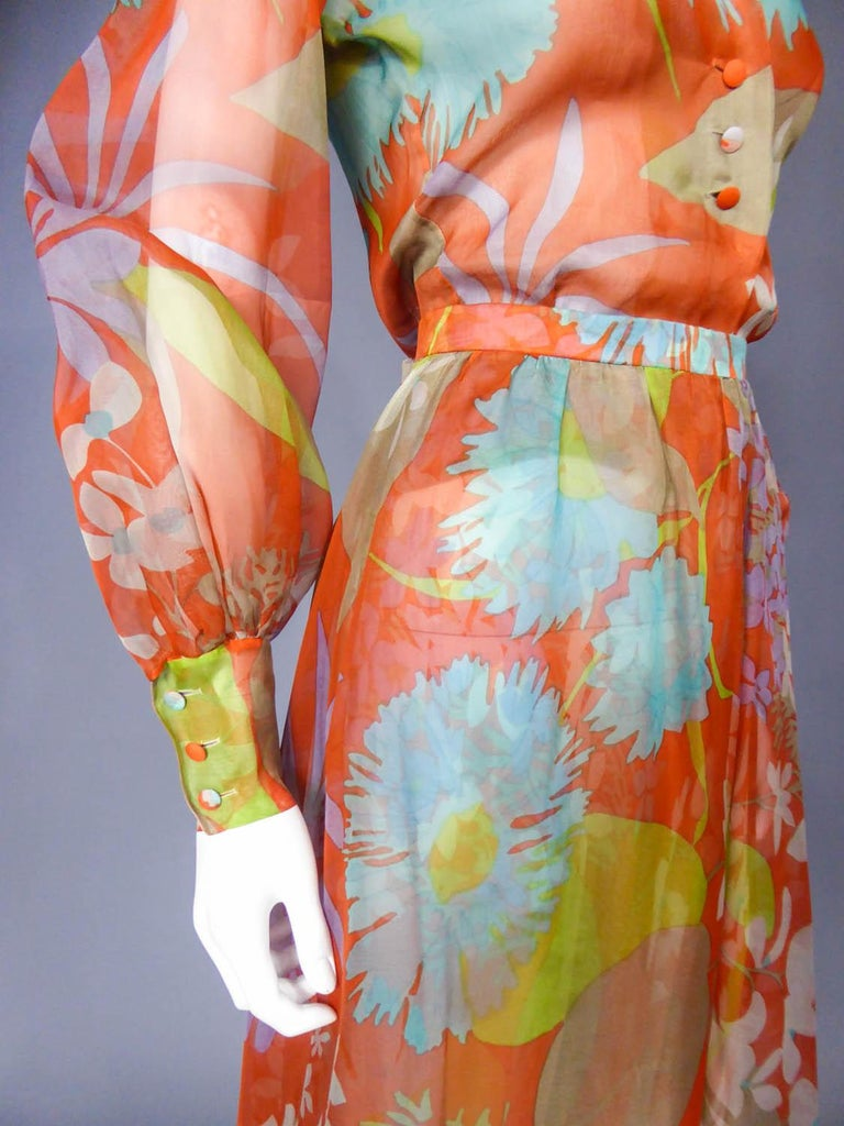Yves Saint Laurent  Couture Printed Organza Skirt and Blouse Fall 1969 For Sale 4