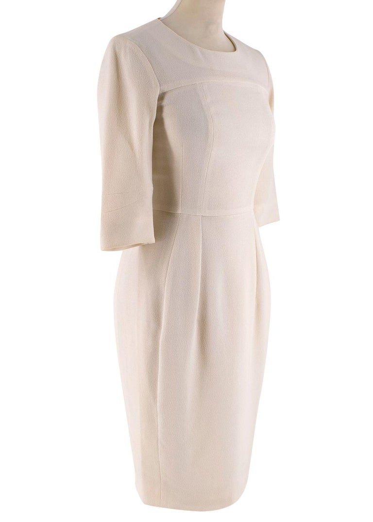 Beige Yves Saint Laurent Cream Textured Silk Dress - Size XS For Sale