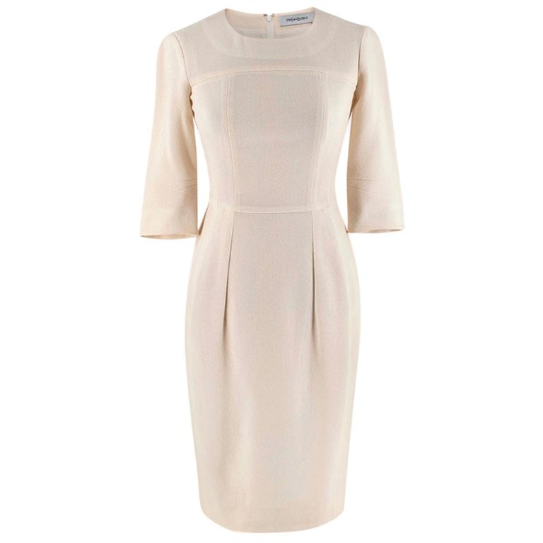 Yves Saint Laurent Cream Textured Silk Dress - Size XS For Sale