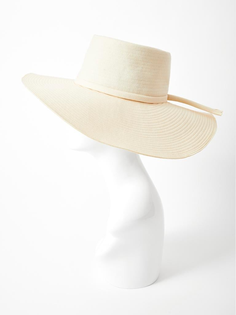 Yves Saint Laurent Cream Tone Wide Brim Hat In Good Condition For Sale In New York, NY
