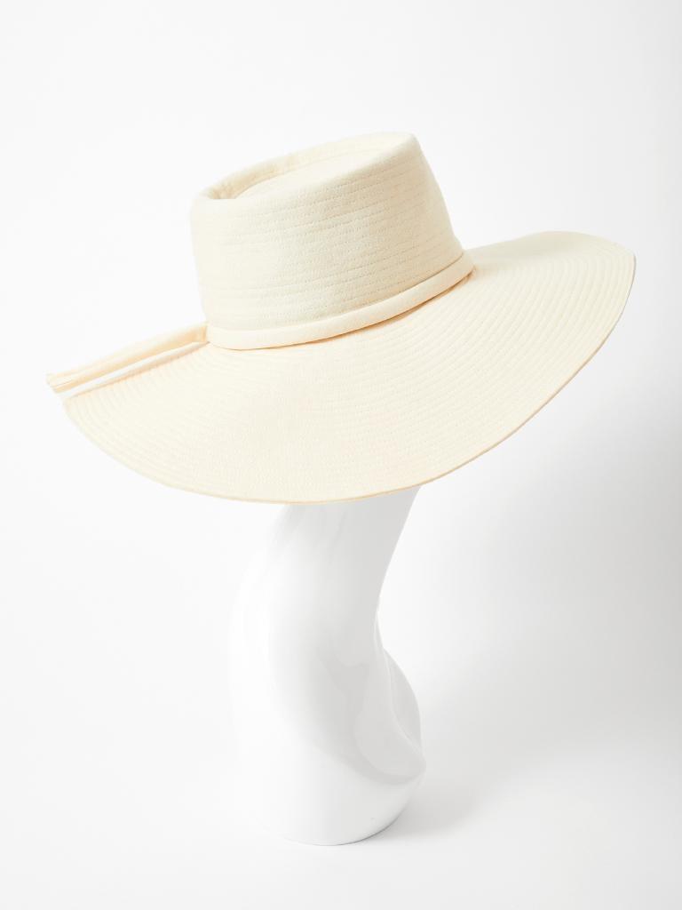 Yves Saint Laurent Cream Tone Wide Brim Hat For Sale 1