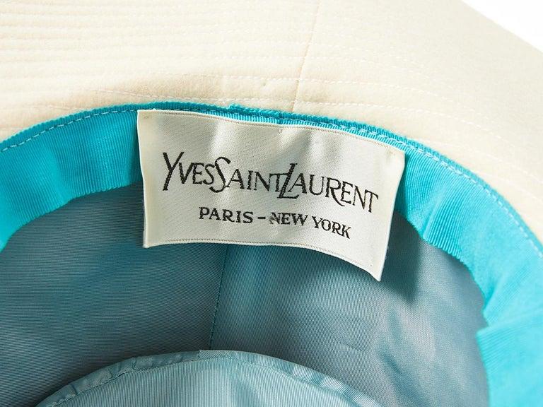 Yves Saint Laurent Cream Tone Wide Brim Hat For Sale 2