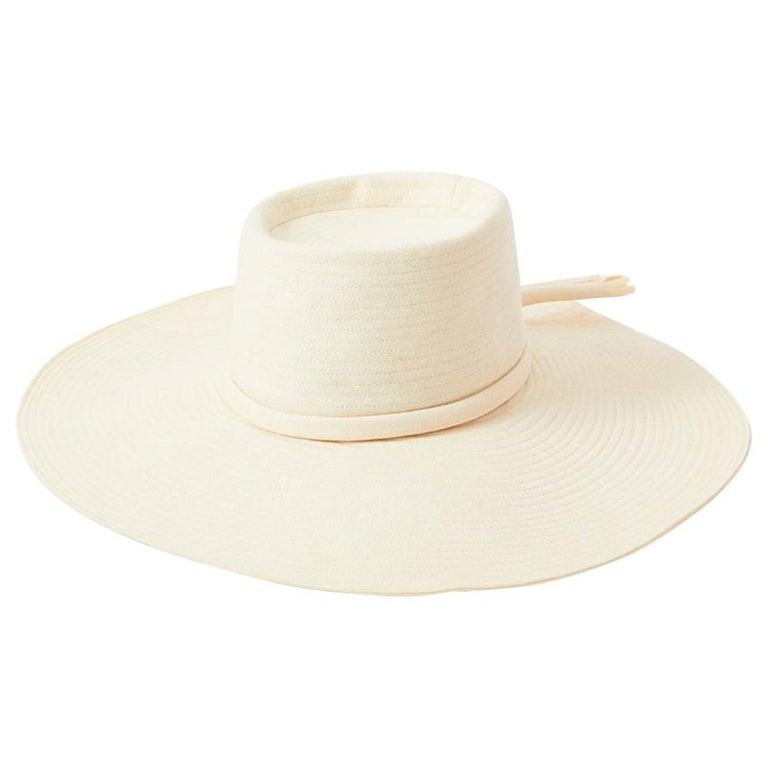 Yves Saint Laurent Cream Tone Wide Brim Hat For Sale
