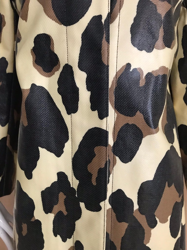 Yves Saint Laurent Creme and Brown Animal Print coat For Sale 5