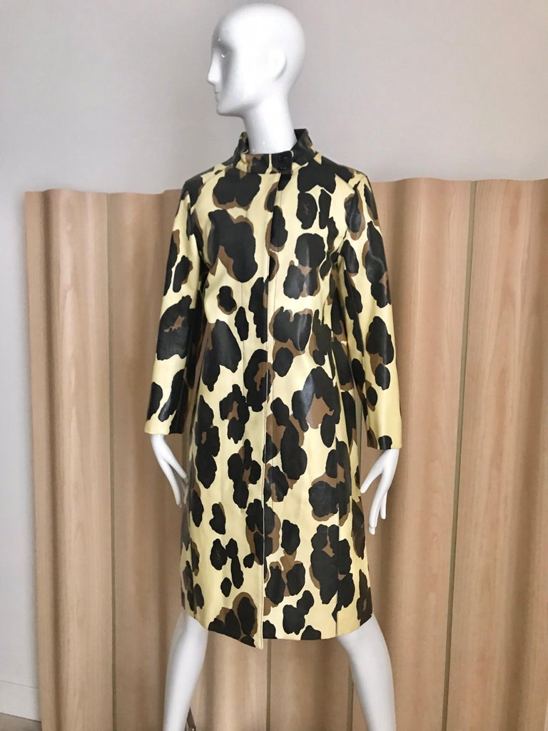 Yves Saint Laurent Creme and Brown Animal Print coat For Sale 7