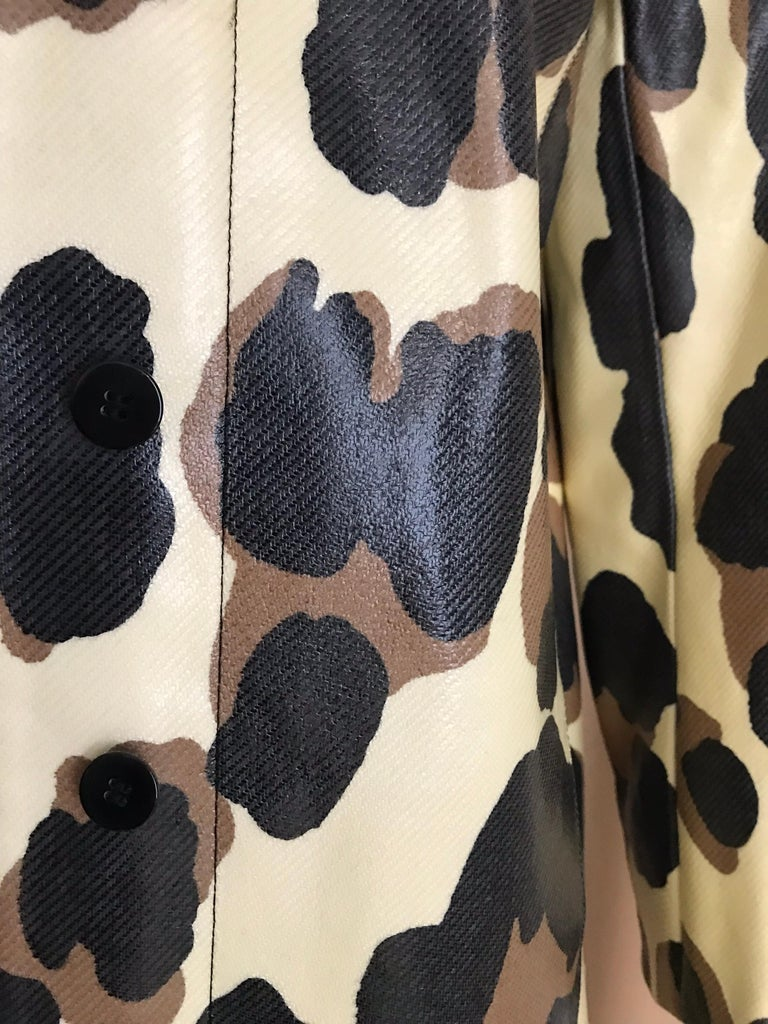 Yves Saint Laurent Creme and Brown Animal Print coat For Sale 11