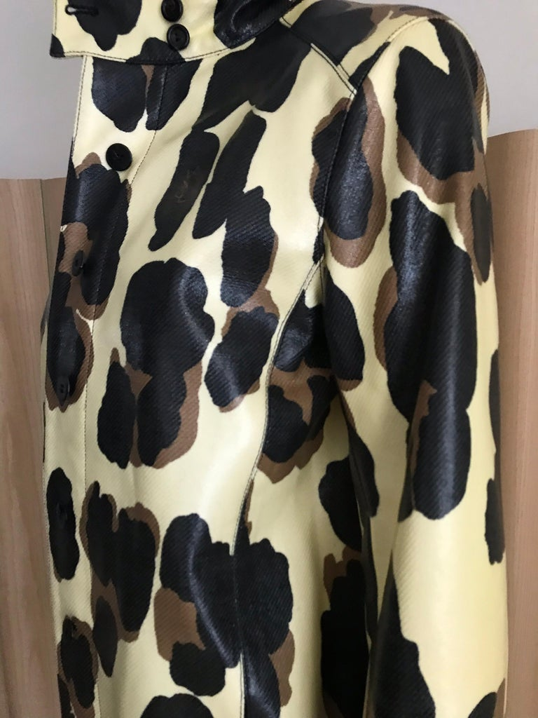 Yves Saint Laurent Creme and Brown Animal Print coat For Sale 12