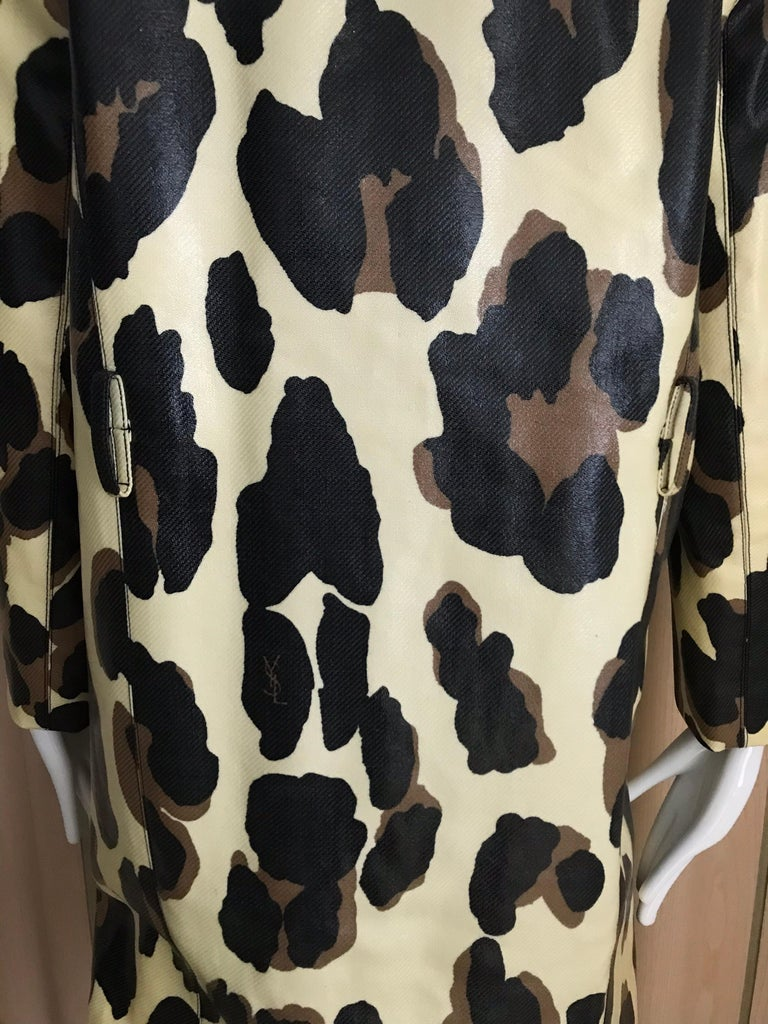 Yves Saint Laurent Creme and Brown Animal Print coat For Sale 13