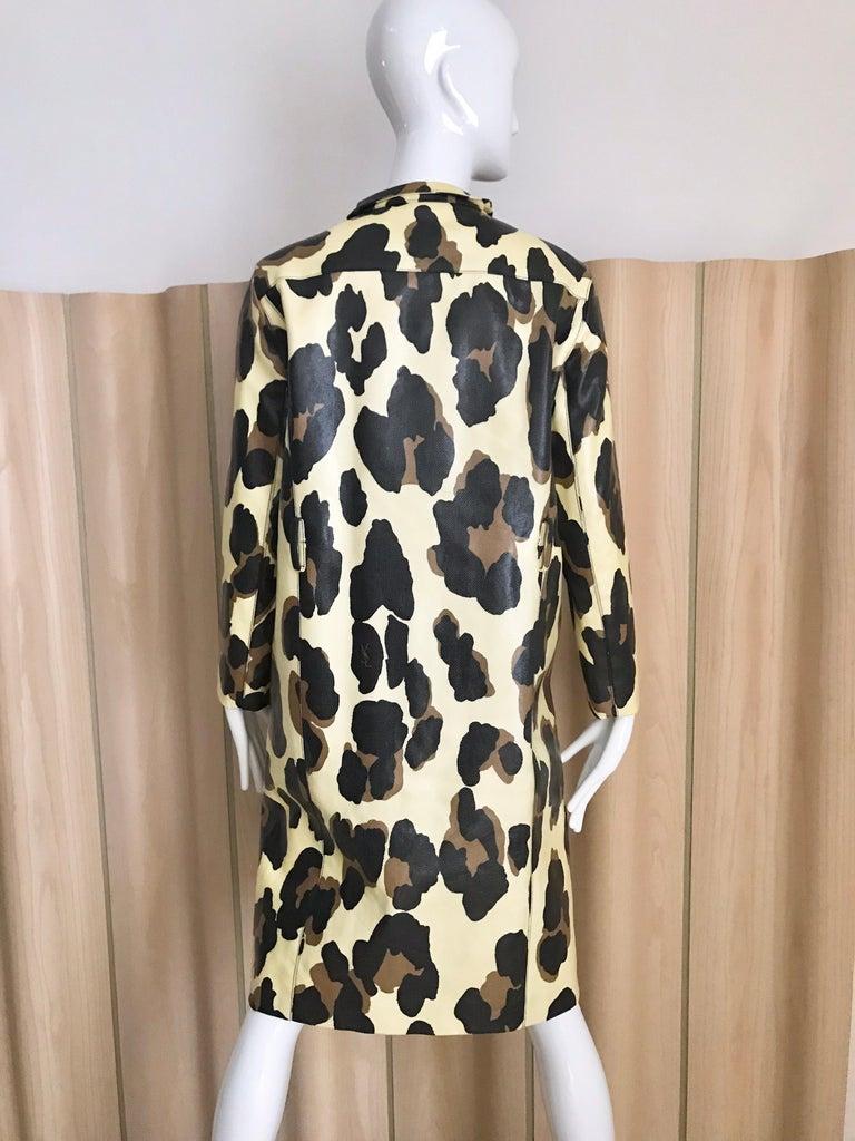 Black Yves Saint Laurent Creme and Brown Animal Print coat For Sale