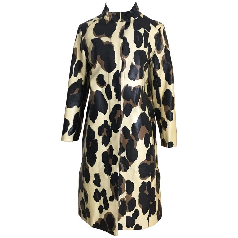 Yves Saint Laurent Creme and Brown Animal Print coat For Sale